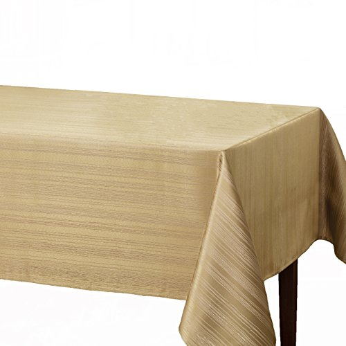 Benson Mills Flow 'Spillproof' Fabric Tablecloth, 60X104 Inch, Ivory/Ecru
