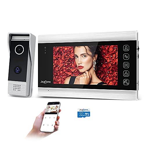 JeaTone Tuya Smart App - Videoportero inalámbrico (7 pulgadas, 960P, monitor WiFi con cámara con cable, tarjeta SD de 32 G, desbloqueo, habla, monitor de aplicación inteligente)