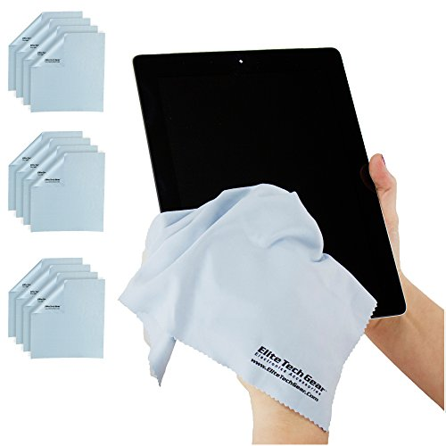 """Elite Tech Gear (12-Pack Oversized) The Most Amazing Microfiber Cleaning Cloths - Perfect for Cleaning All Electronic Device Screens, Eyeglasses, Tablets & Delicate Surfaces (12 Oversized 12"""" x12"""")"""