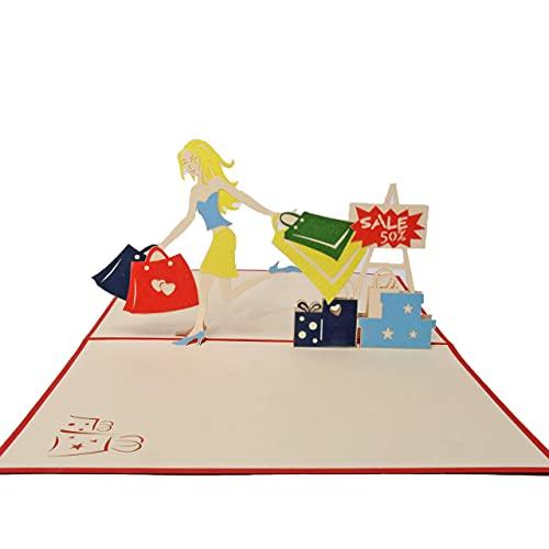 Favour Pop Up Grusskarte - Shopping Girl. Die perfekte Glückwunschkarte zum Geburtstag, Urlaub, Jubiläum auch für Gutschein oder Geldgeschenk. 13x18cm ALTFX051