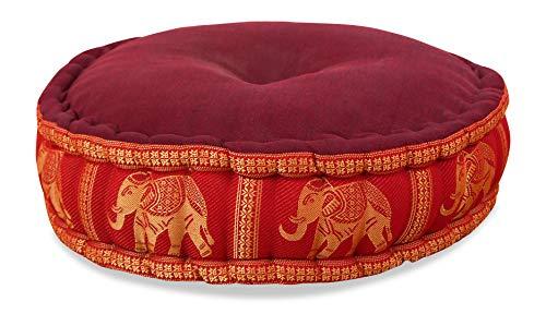 livasia Zafukissen Seide mit Kapokfüllung, Meditationskissen, Yogakissen, rundes Sitzkissen/Bodenkissen (hellrot/Elefanten)