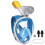Máscara de buceo de cara completa,máscara de esnórquel de 180 ° con vistas al mar,mascara snorkel niños, antivaho, antifugas, con tiras ajustables y soporte de cámara de acción desmontable