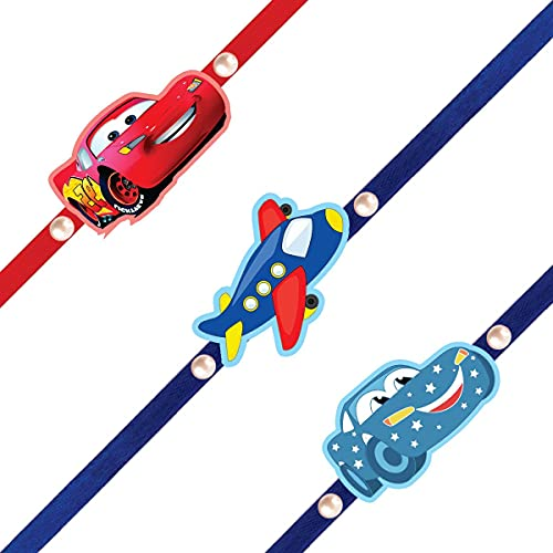 A Pioneer - Handmade Magnetic Stunning Cars -Blue Plan Rakhi For Brother/Children/Kids/ Bhaiya/ Bhai with Roli Chawal and...