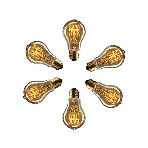 Dulousia 6 bombillas Edison A19 de 40 W, estilo vintage, intensidad regulable, 220 V, casquillo E27, para restaurante, hogar, oficina, decoración