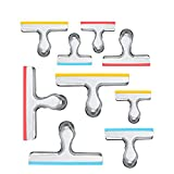 House Again 12 Pack 3 Sizes Chip Bag Clips Covered with Silicone - NO More Sharp Edges - Air Tight Seal Bag Clips, Bright Silver, 5 Inches, 3 Inches and 2.5 Inches
