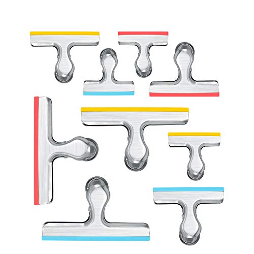 House Again 12 Pack 3 Sizes Chip Bag Clips Covered with Silicone  NO More Sharp Edges  Air Tight Seal Bag Clips Bright Silver 5 Inches 3 Inches and 25 Inches