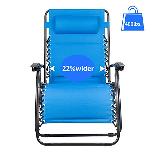 Homall Oversized Zero Gravity Chair XL Padded Lounge Chair Patio Recliner Folding Outdoor Adjustable Lawn Chair Support 400lbs with Headrest pillow (Blue)
