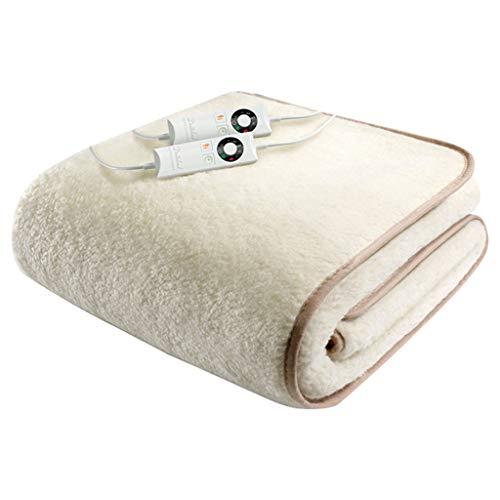 Elektrische dekens, eenvoudig en dubbel, 5 verwarmingsinstellingen, automatische spanning veilig en geprogrammeerd, elektrische deken van wol met dubbele controle, veilig wasbaar in de wasmachine, bed.
