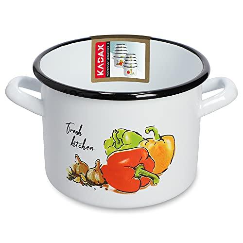 KADAX Casseruola per verdure, pentola alta senza coperchio, pentola con manici ergonomici, motivo smaltato in acciaio, per tutti i piani cottura, anche a induzione (16 cm, 2,4 l, motivo paprika)