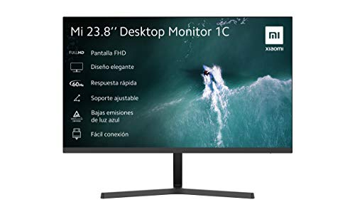 "Xiaomi Monitor 1C 23.8"" FHD (ISP, 1920x1080, 16:9, 60Hz, 6ms, 250cd/m2, HDMI + VGA, 178º, 3 lados sin bordes), negro"