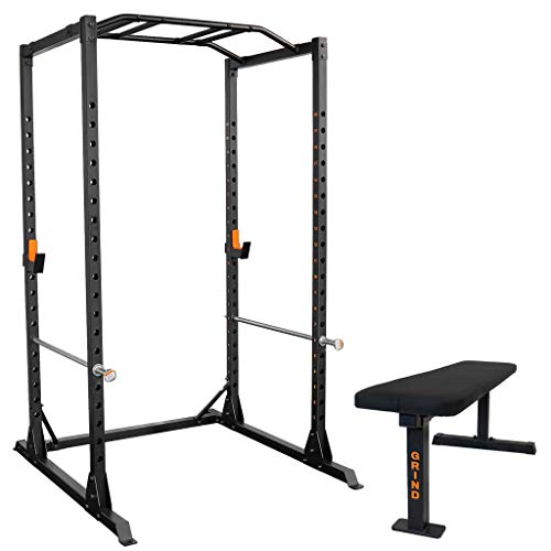 GRIND Fitness Alpha3000 Power Rack, Squat Rack with Barbell Holder, Silver Spotter Arm,2x2 Uprights, Textured Multi-Grip Pull Up Bar, Heavy Duty J-Cups (Alpha3000 Squat Rack + 3-Post Bench)