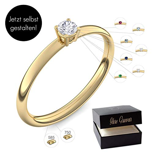 Verlobungsring Gelbgold 585 750 PERSONALISIERT + ETUI mit individueller GRAVUR Damen-Ring Heiratsantrag Diamant-Ring Zirkonia Aquamarin Rubin Smaragd Saphir Brillant Blautopas