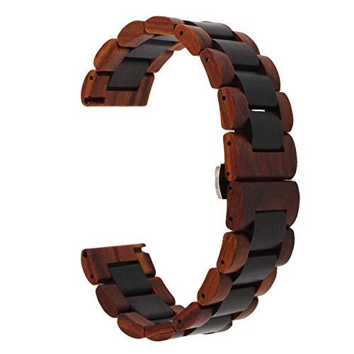 Correa de madera de 20 mm y 22 mm con correa de liberación rápida, pulsera de repuesto para mujeres y hombres, 20MM, Madera.,