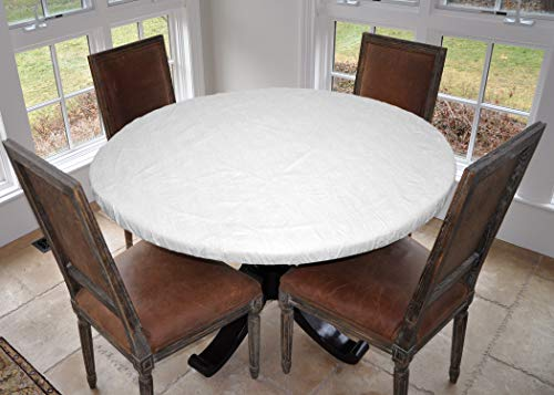 Covers For The Home Deluxe Elastic Edged Flannel Backed Vinyl Fitted Table Pad - Quilted White Pattern - Large Round - Fits Tables up to 45' - 56'...