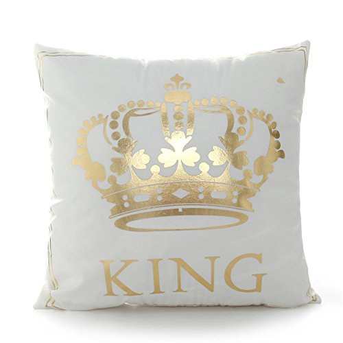 FASHIONDAVID 18 18 Inch Gold King Crown Home Bronzing Flannel Throw Pillow Cover Golden King Queen Crown Geometric Line Pattern Cushion Covers Sofa Home Decor