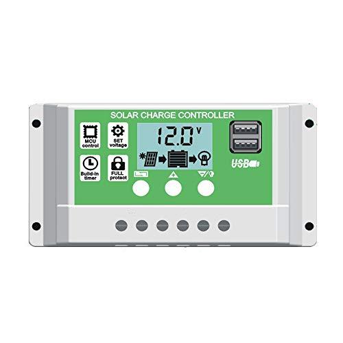 Y&H 20A Controlador de carga de panel solar de para batería de plomo/litio de 12 V 24 V con pantalla LCD con retroiluminación USB dual y ajuste de temporizador Horas de encendido/apagado
