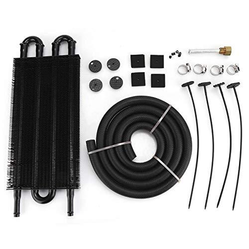 Bediffer Radiador de transmisión de aleación de Aluminio Firme Universal Duradero, Piezas modificadas anticorrosión Negras para automóvil(4 Rows-Black)