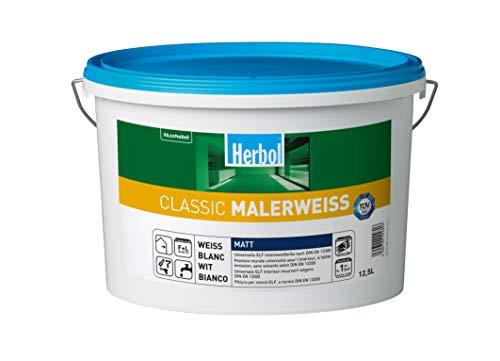 Herbol Classic Malerweiss Wandfarbe Innenfarbe hohe Deckkraft-Klasse 1, 12.5 Liter, Weiß Matt