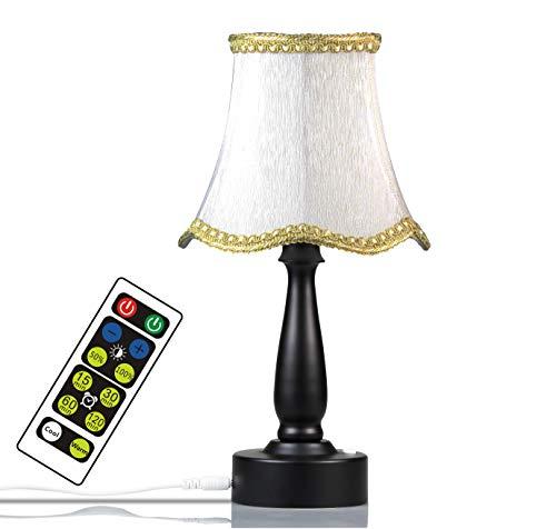 WRalwaysLX - Lámpara de mesita de noche de tela retro con 3 pilas AA de 1,5 V para lectura