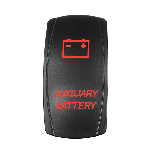 Bright Light Powersports Universal Laser Rocker Switch AUXILIARY BATTERY On/Off LED 12 Volt 20Amps (RED)