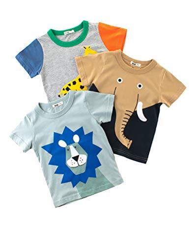 3 Pack Niño Camiseta Manga Corta Redondo Cuello Animal Patrón Impreso T-Shirt Verano Tops para Niñas