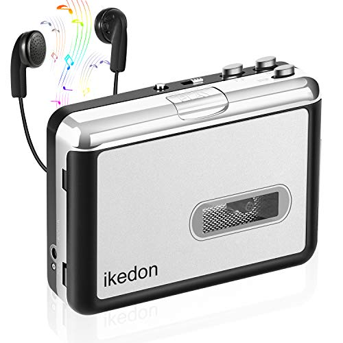 Cassette Player, IKEDON Walkman Cassette Player Captures MP3 Audio Music Via USB, Tape Player with Headphones for Laptop & PC