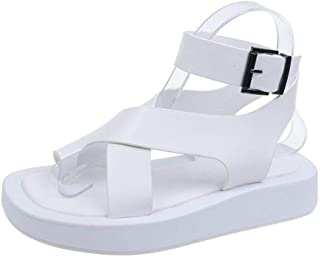 Women'S Sandals,Women'S Platform Sandals,White Leather Low Heel Sandals For Women Casual Clip-Toe Cross Strap Sandalias Woman Summer Shoes
