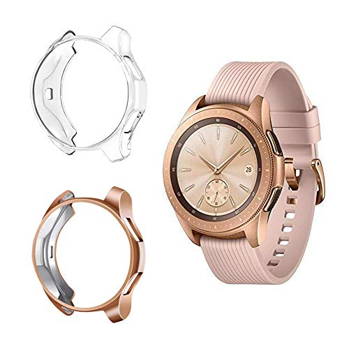 Suoman Compatible with Samsung Galaxy Watch 42mm Case, Soft Plated TPU All-Around Protective Bumper Cover Case for Samsung Galaxy Watch 42mm Smartwatch, 2-Pack Rose Gold, Clear