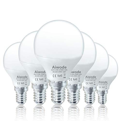 Aiwode E14 LED Lampe Energiesparlampe,5.5W LED Birne 470Lumen Glühbirne,Warmweiß 2700K,Ersetzt 40W,G45 180° Abstrahlwinkel,6er-Pack.