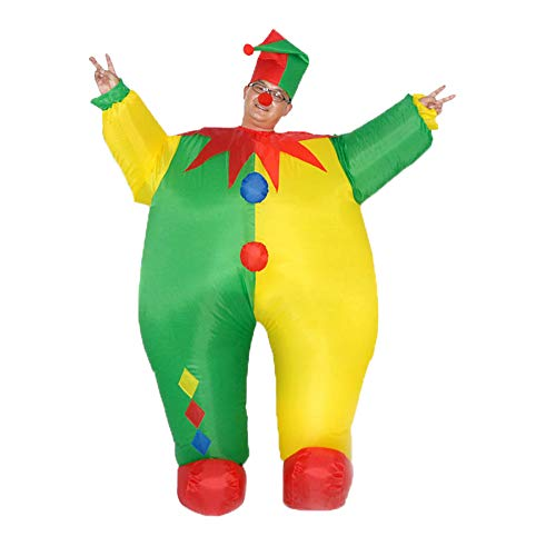 SIREN SUE Fat clown inflatable costume for Halloween Fancy Dress Cosplay Blow Up Full Body Suit Jumpsuit for Adult