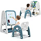 Costzon Kids Art Easel with Stool, 2 in 1 Double-Sided Magnetic Dry Erase Board and Kids Book Rack with Foldable...