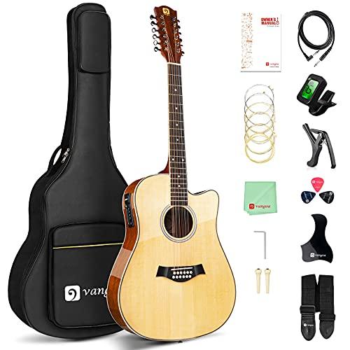 Vangoa 12 String Gutiar, Acoustic-electric Cutaway Dreadnought Guitar Bundle, Spruce...