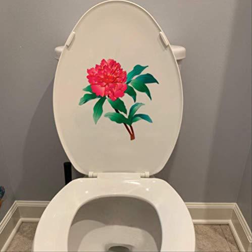 WC-sticker met de hand getekend bloemen rode pioen huisdecoratie badkamer muursticker 24 * 24,5 cm