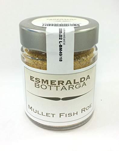Bottarga Esmeralda grattugiata in barattolo - Caviale del Mediterraneo - (uova di muggine essiccate) 70 g di cattura selvaggia dal Mar Mediterraneo