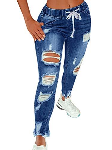 Vaqueros Mujer Rotos EláStico Rectos Tejanos Skinny Slim Boyfriend Jeans Denim lápiz Pantalones con Cordón A Azul Oscuro M