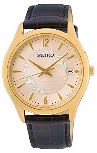 Seiko Reloj Analógico para Hombre de Cuarzo con Correa en Cuero SUR472P1