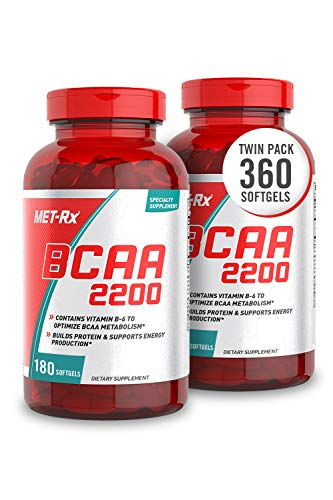 MET-Rx BCAA 2200 Amino Acid Supplement, Supports Muscle Recovery, 180 Softgels, 2 Pack (360 Total Count)