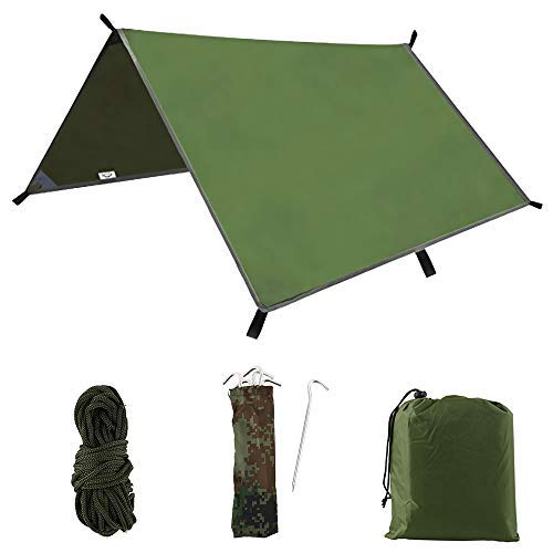 Beenle-Icey Hammock Rain Fly Tent Tarp 3M Large Waterproof Windproof Snowproof Ripstop Camping Shelter Strong Lightweight Compact Tarpaulin with Portable Storage Bag for Outdoor Travel Army green