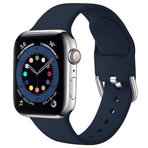 MroTech Compatibile con Apple Watch 40mm 38mm Cinturino di Ricambio per iWatch SE Serie 6 5 4 3 2 1 Cinturini in Silicone Sportivo Braccialetto Morbido Sport Band 38 40 mm Banda-Semplice Blu Notte