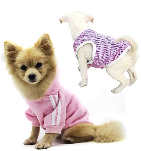 QiCheng & LYS Vestiti con cappuccio per cani, giacca con cappuccio calda in cotone carino, maglione per cuccioli, maglietta per gilet sportivo (Rosa, XS)