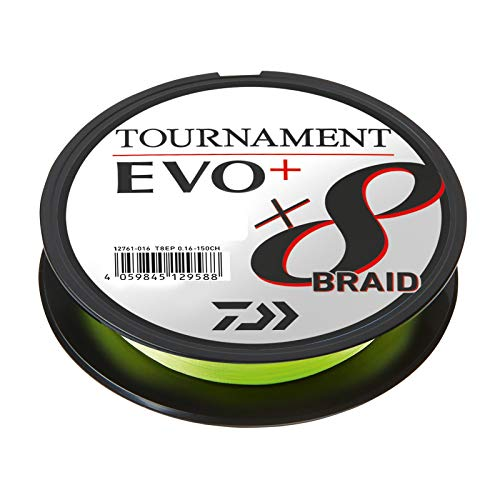 Daiwa Tournament X8 Braid EVO+ 0,14mm 135m Chartreuse geflochtene Angelschnur