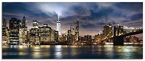 Artland Glasbilder Wandbild Glas Bild einteilig 125x50 cm Querformat Städte USA Amerika New York Skyline Nacht Manhattan Hudson River T0WB