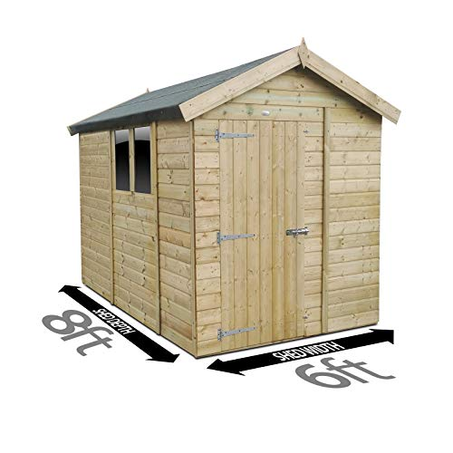 8ft x 6ft (2.4m x 1.8m) Apex Shed Pressure Treated Tanalised Timber Fast & Free Delivery