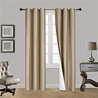 Sapphire Home (2 Panels Grommet Faux Silk Satin Blackout Window Curtain Panels 84
