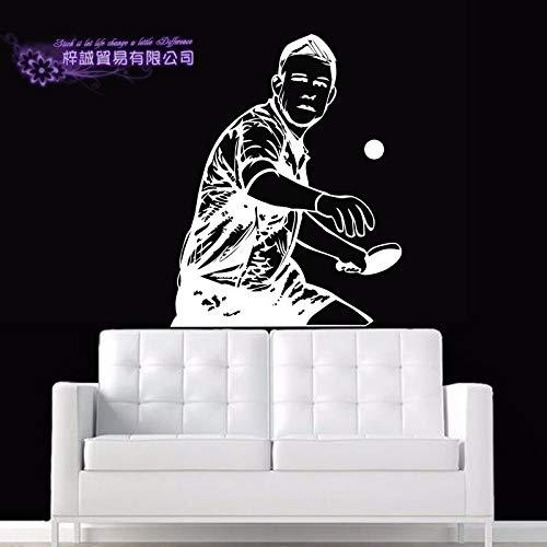 ASFGA Tischtennisspieler Aufkleber Tischtennis Sport Aufkleber Poster Vinyl Wandtattoo Pegatina Quadro Parede dekorative Wandbild Tischtennis Aufkleber 134x174cm