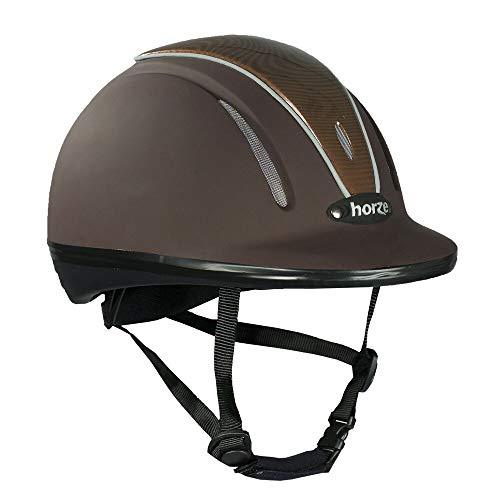 horze Pacific Reithelm Verstellbarer Helm VG1 Defenze, Braun/Braun(BR/BR), L-XL