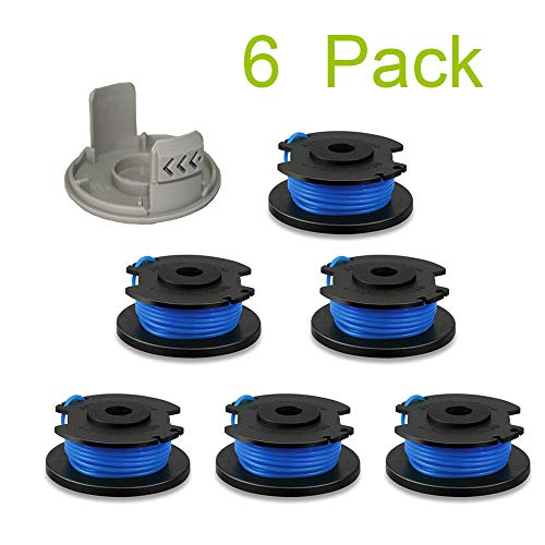 Thten String Trimmer Spool Replacement for Ryobi One Plus AC14RL3A 18V 24V 40V 11ft 0.065' Auto Feed Cordless Weed Eater Spools Line with AC14HCA Cap Covers Parts (6 Spools, 1 Cap)