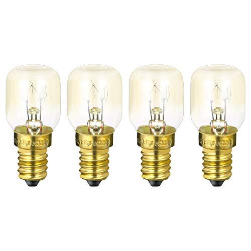 Mobestech Lampadine di ricambio per microonde e14 25w lampadina per forno a microonde per frigorifero fornello (4 pezzi bianco caldo 25w)
