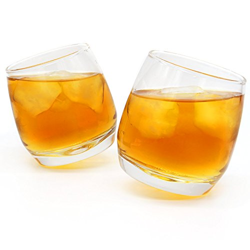 Set of 2 Rocking Whiskey Glasses | Swirling Whisky Tumblers | Perfect Bar Gift Set | Liquor, Whiskey, Bourbon or Scotch | Whiskey Gift Set | M&W