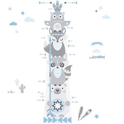 anna wand Messlatte LITTLE INDIANS für Kinder - Wandaufkleber mit Tier-Motiv in HELLBLAU/GRAU - Messleiste für Kinderzimmer - Wandsticker für Körpergröße von Jungen und Mädchen